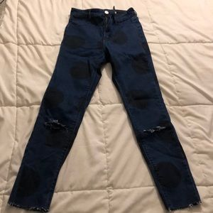 Ankle crop Blue Jean with Black Large Polka Dots